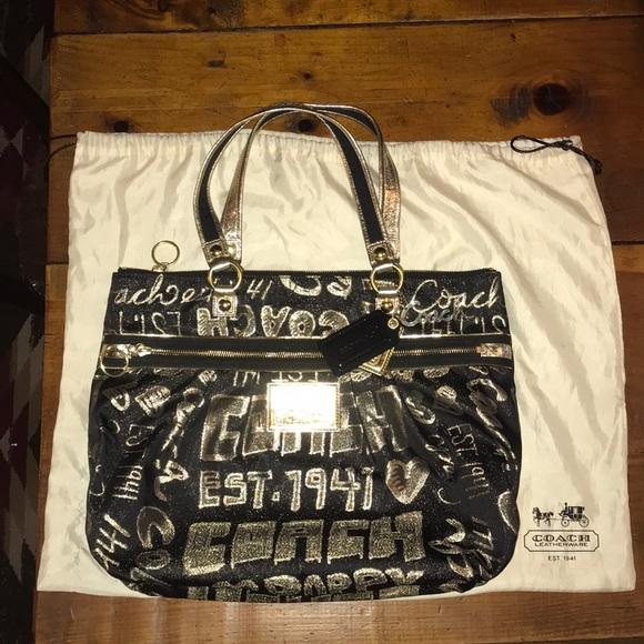 Coach Handbags - Large Coach Poppy Tote-bag, Black/shimmery gold